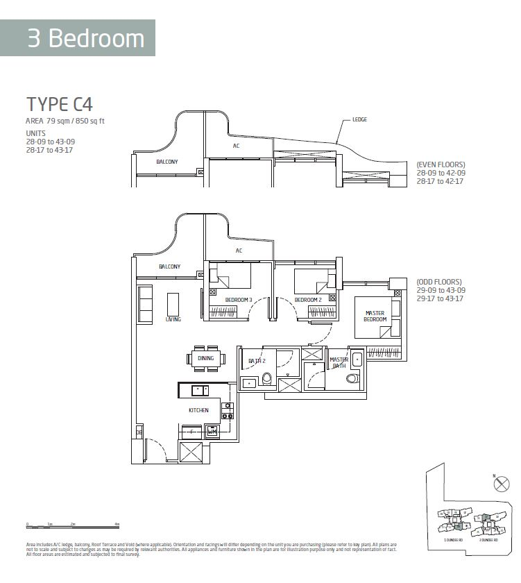 Queens Peak 3BR C4 Floorplan