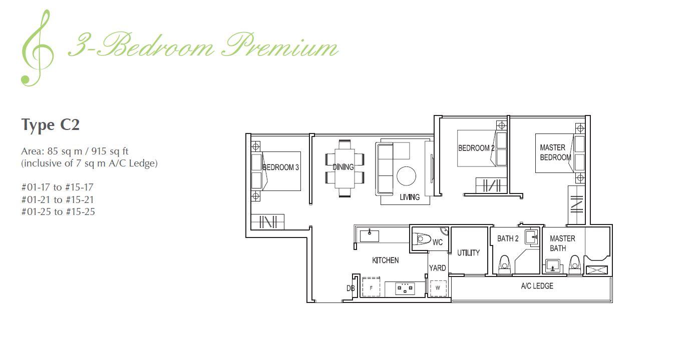 Symphony Suites 3BR Premium Floorplan C2 915sqft