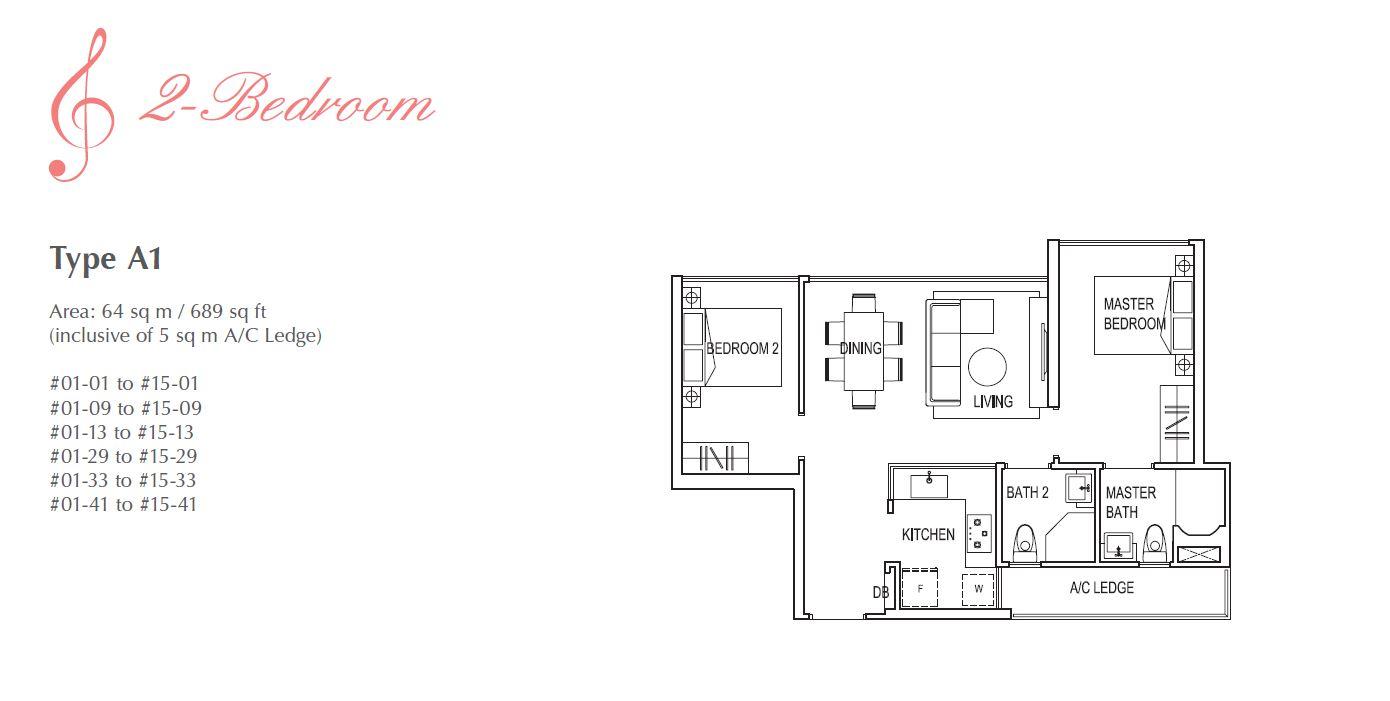 Symphony Suites 2BR Floorplan A1 689sqft