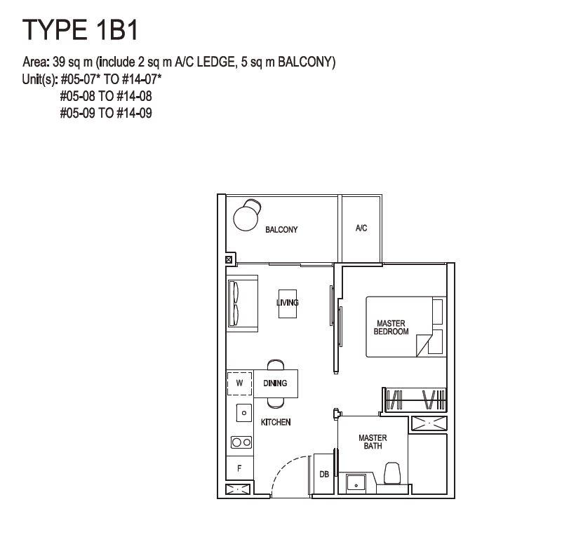 Grandeur Park Residences Floorplan 1BR 1B1 39sqm