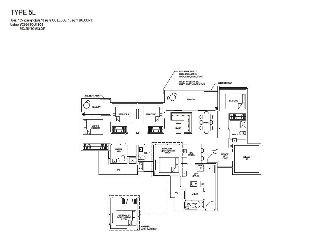 Grandeur Park Residences Floorplan 5BR Premium  5L  135sqm