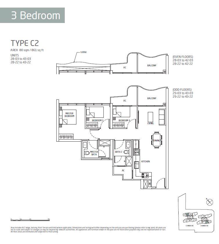 Queens Peak 3BR C2 Floorplan