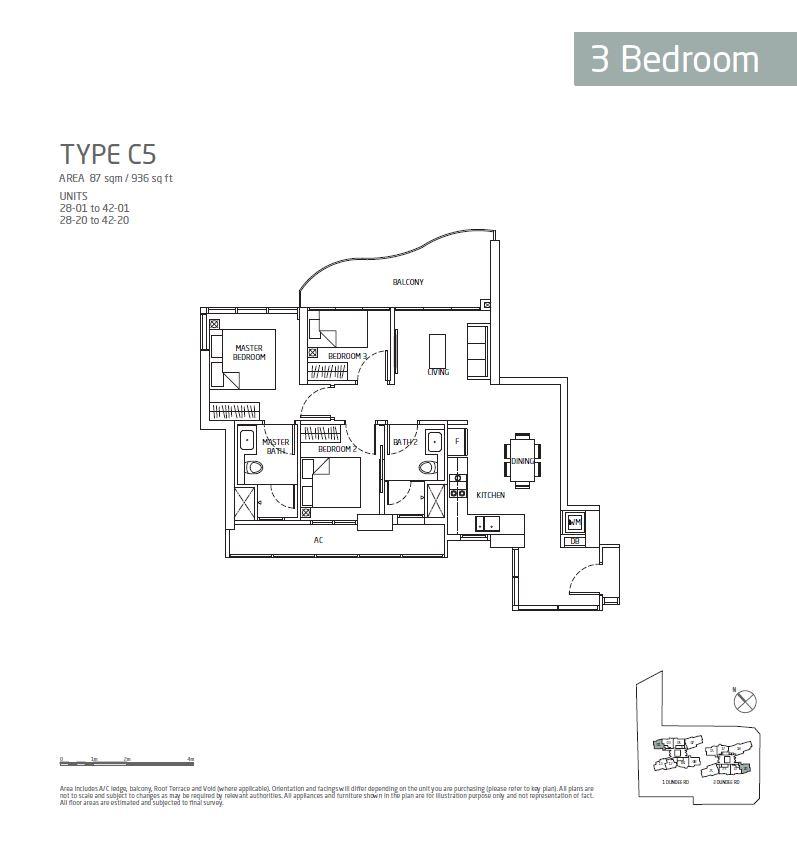 Queens Peak 3BR C5 Floorplan