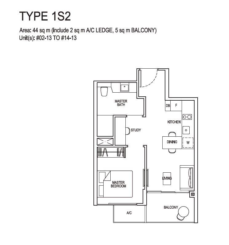 Grandeur Park Residences Floorplan 1BR+S  1S2  44sqm