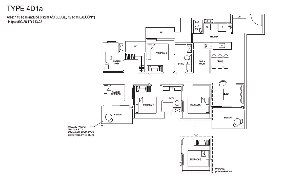 Grandeur Park Residences Floorplan 4BR Deluxe  4D1a 115sqm