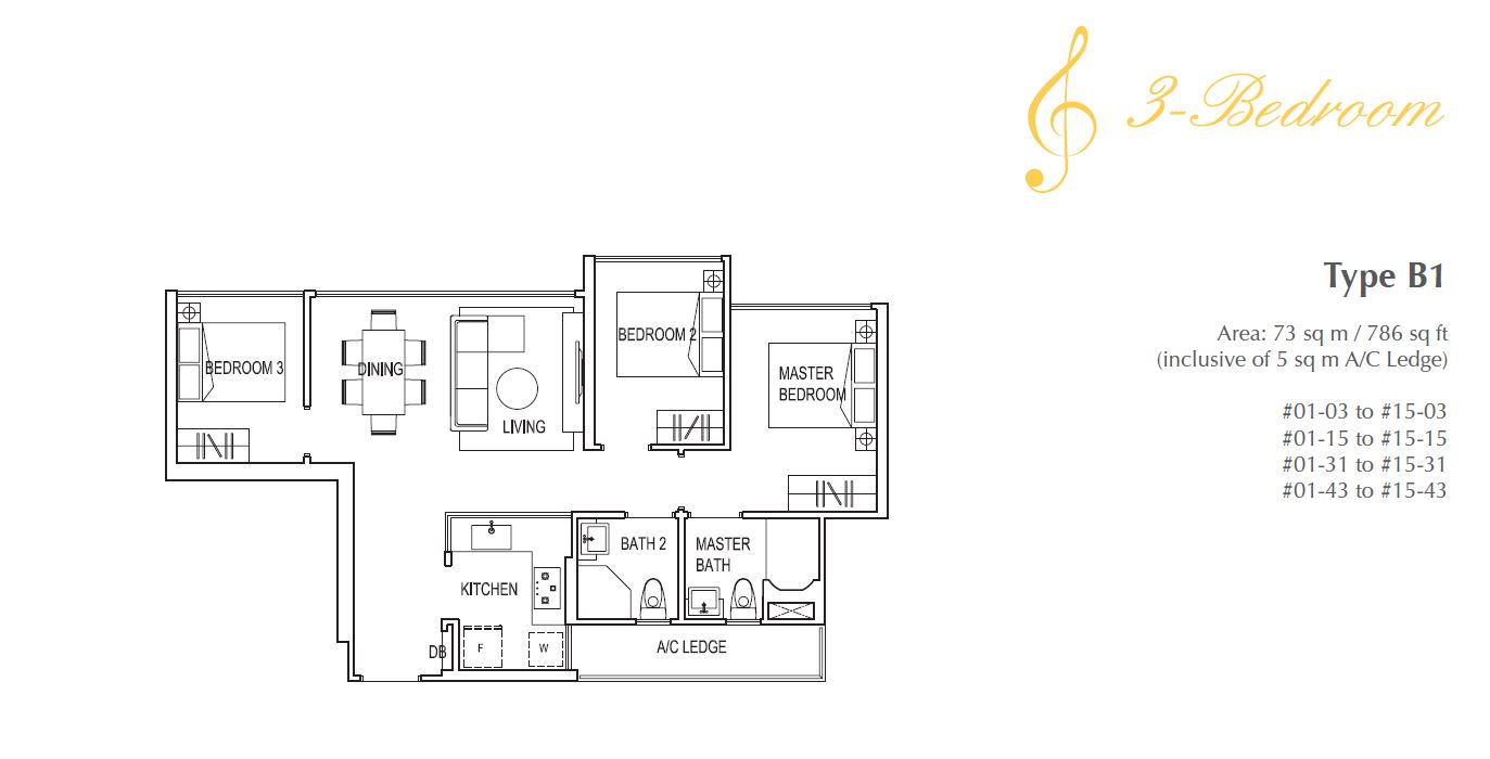 Symphony Suites 3BR Floorplan B1 786sqft