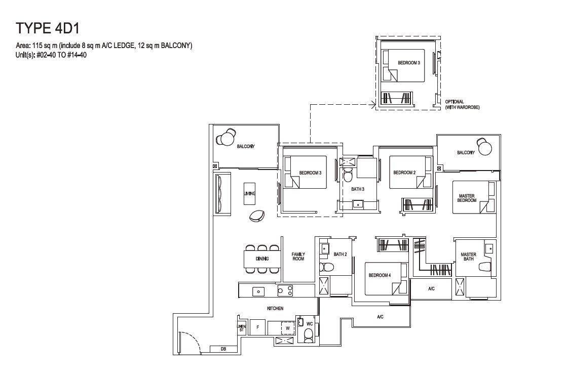 Grandeur Park Residences Floorplan 4BR Deluxe  4D1  115sqm