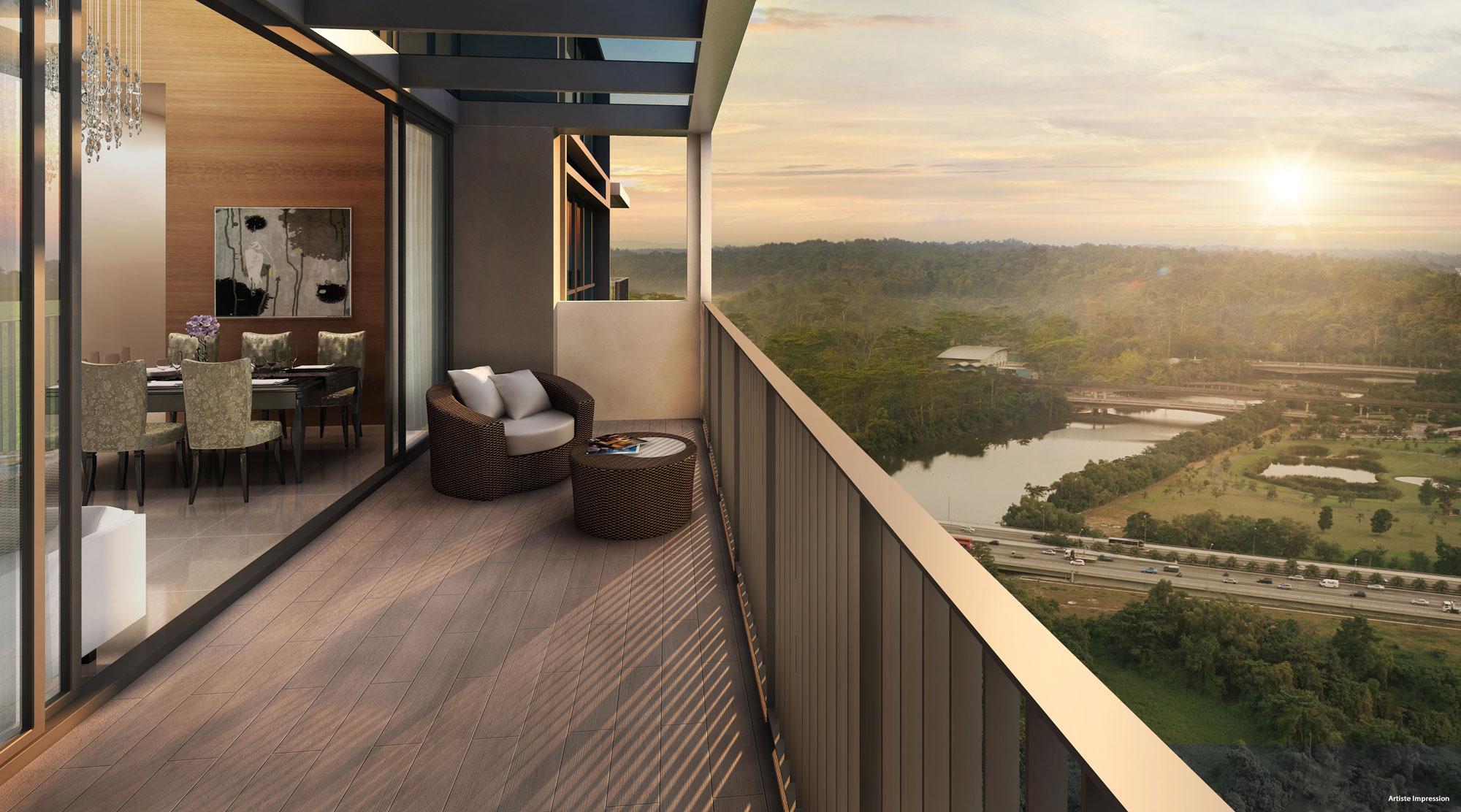 Bellewaters - Balcony Overlooking Punggol Reservoir