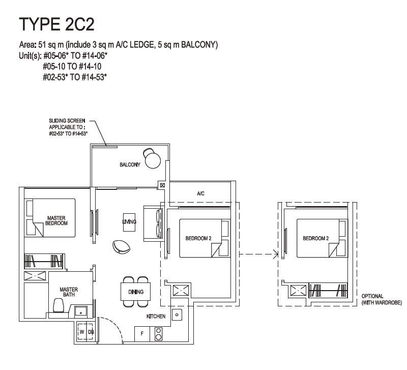 Grandeur Park Residences Floorplan 2BR Compact  2C2  51sqm