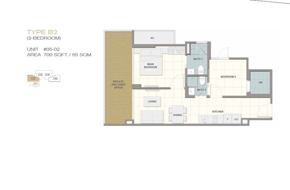 Forte Suites Type B2 2BR 700sf