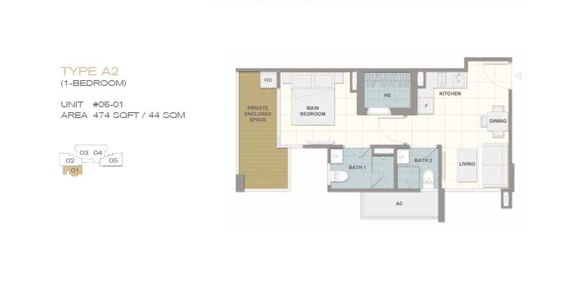 Forte Suites Type A2 1BR 474sf