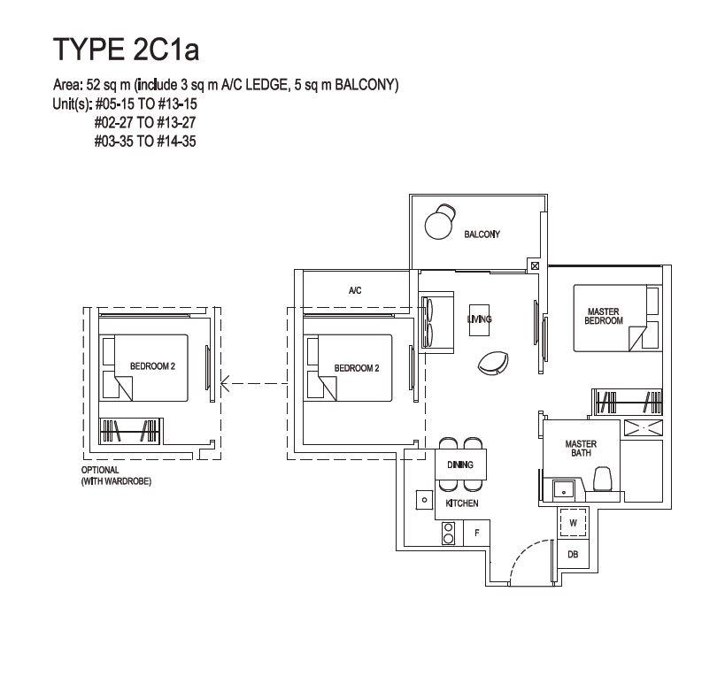 Grandeur Park Residences Floorplan 2BR Compact  2C1a  52sqm