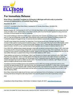 Brian Ellison for US Senator, press release