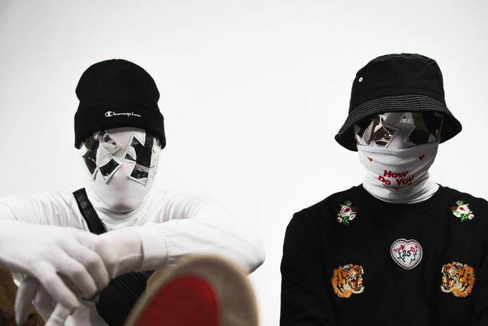 The Image wearing masks white background