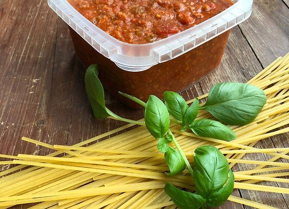 Sauce spaghetti 100% de poulet de grain et surgelée