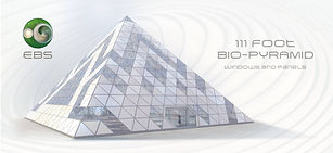 111 foot bio pyramid, glass and panel design