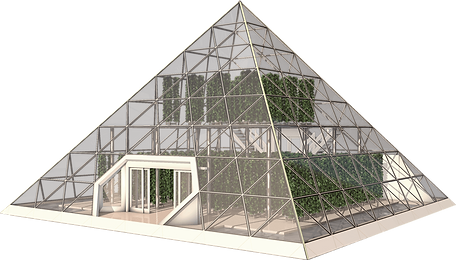 Sustainable pyramid housing an aquaponic system