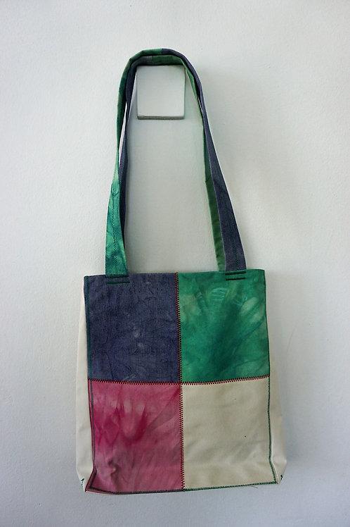 Patchwork Handbag with Zipper