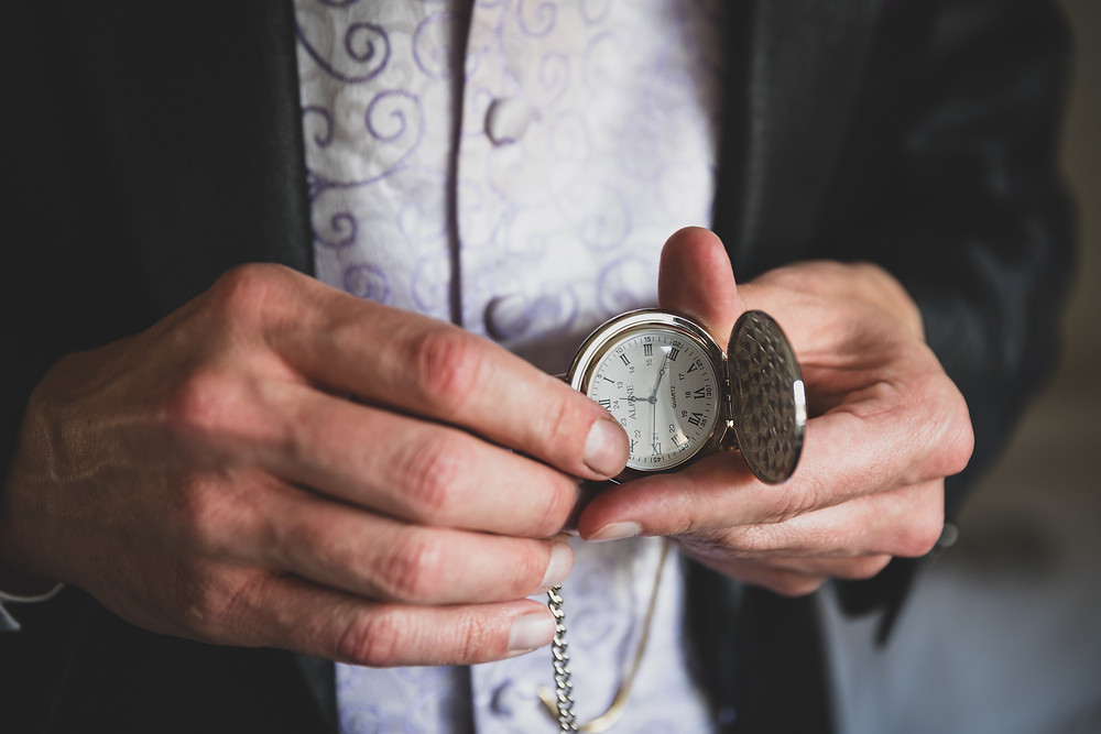 wedding pocket watch by Steve and Tania Photography