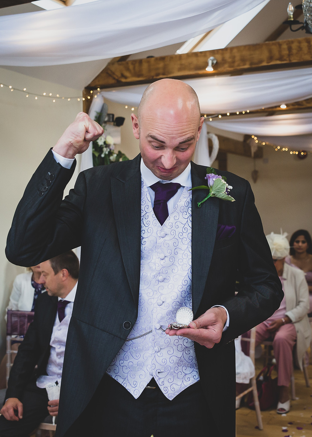 late bride to the wedding wedding pocket watch by Steve and Tania Photography