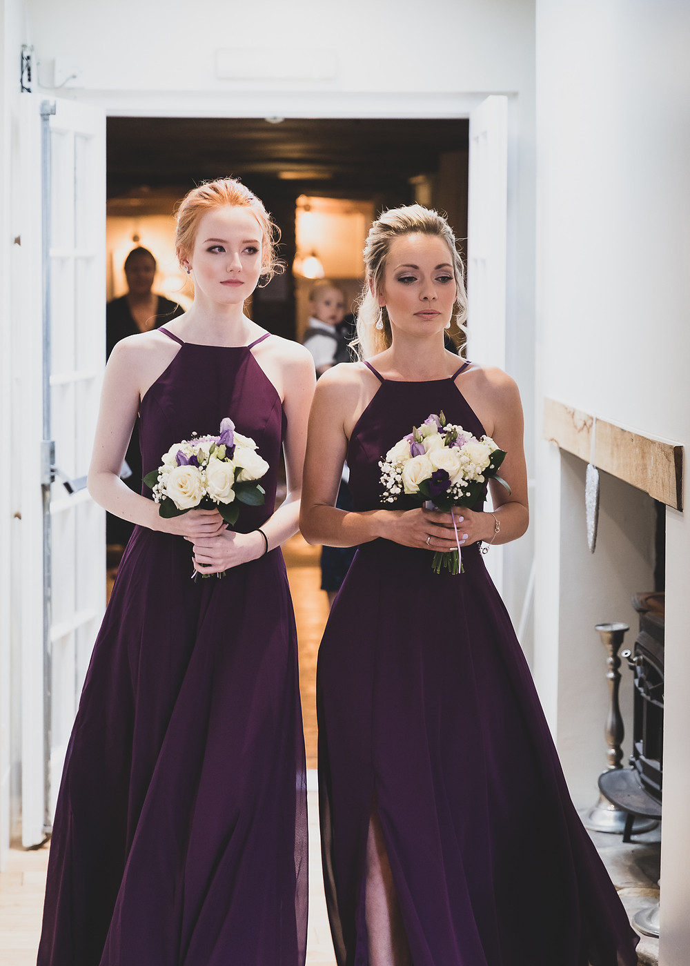 Purple bridesmaid dresses, beautiful maids wedding pocket watch by Steve and Tania Photography
