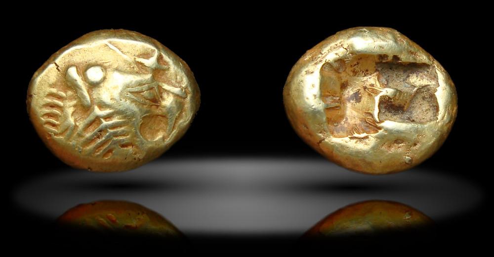 лидийское трите, трите с головой льва, электровая монета, древняя монета
