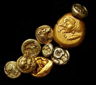 Коллаж электровые монеты, гекты, статер, гемигекта