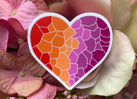 Lesbian Flag Mosaic Heart Sticker | LGBTQ Sticker