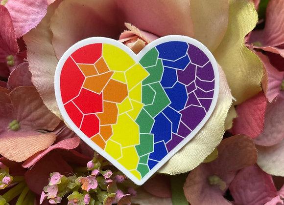 Gay Pride Flag Mosaic Heart Sticker | LGBTQ Sticker