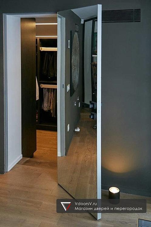 Скрытая дверь распашная с зеркалом.