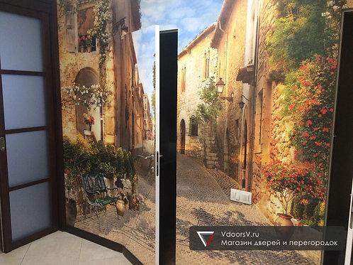 Дверь скрытого монтажа под фотообои.