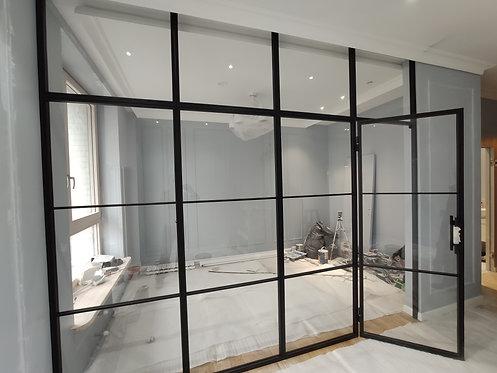 Перегородка Лофт сталь, зонирование комнаты с распашной дверью.