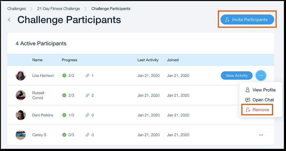 Как изменить список участников в онлайн-марафоне в Wix Challenges