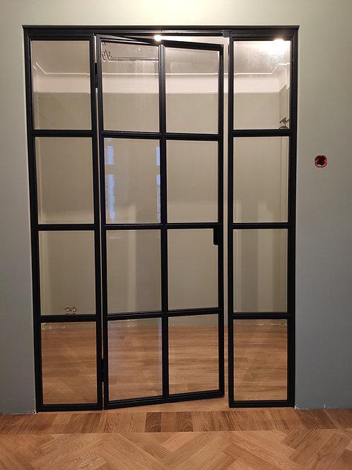 Лофт конструкция с распашной дверью.