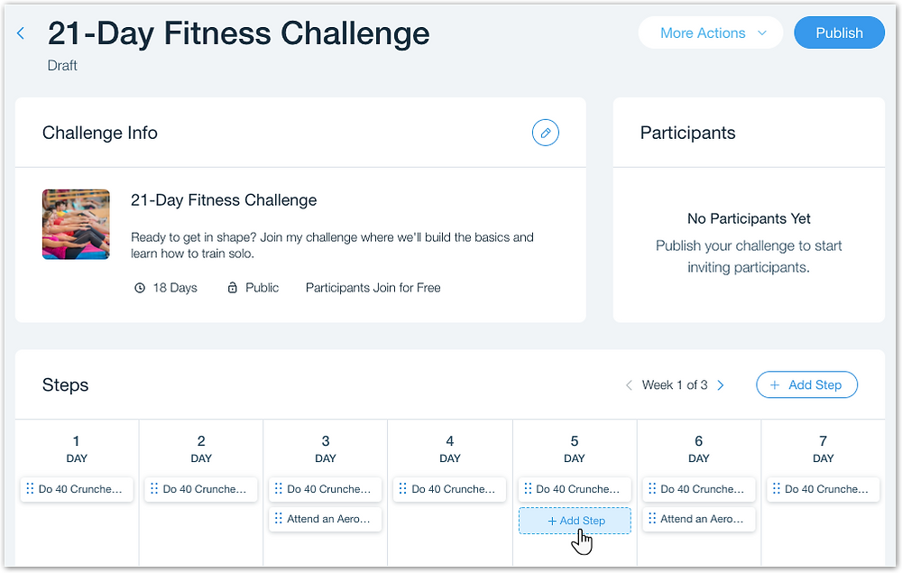 Как настроить шаги в онлайн-марафоне в приложении Wix Challenges