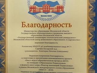 Благодарность от министерства образования Московской области