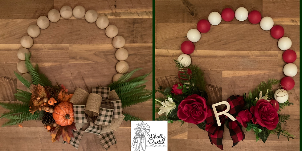 Holiday Wood Bead Wreath @ 812 Pizza Co!