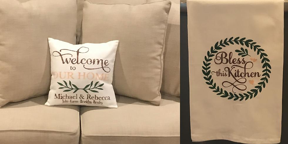 Winery Pillow & Tea Towel Painting!