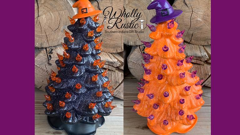 Blacklight Halloween Ceramic Trees!