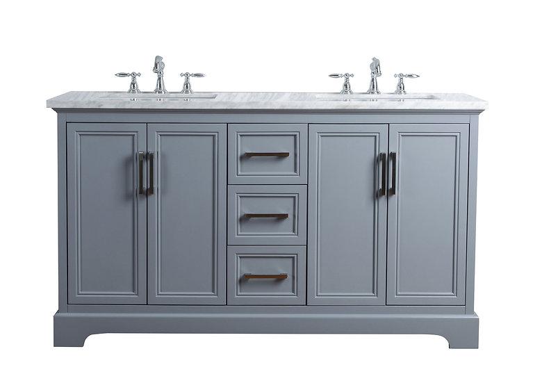 "Ariane 60"" Slate Gray Double Vanity Dual Sinks"