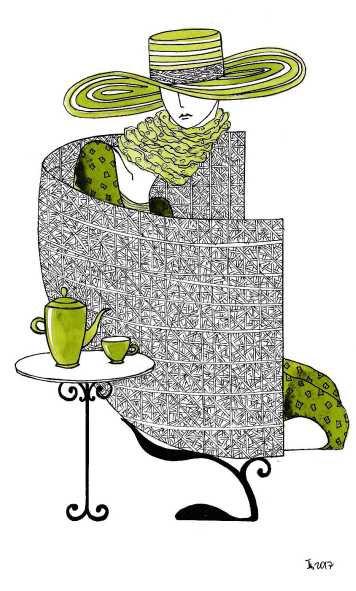 """Открытка """"В шляпе за чаем"""" от Татьяны Цибульской"""