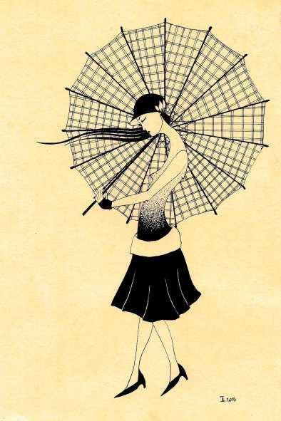 """Открытка """"Девушка с зонтиком"""" от Татьяны Цибульской"""