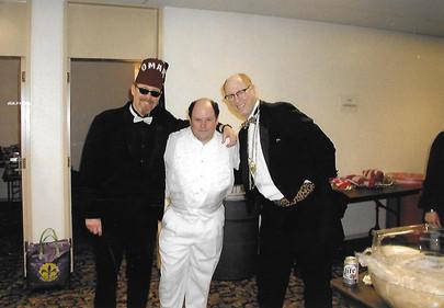 "Backstage at Mardi Gras with SRO's Omar and ""George"" (Jason Alexander)"