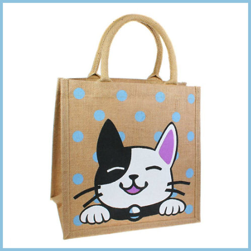 Jute Shopping Bag Black & White Cat