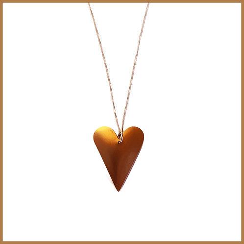 Copper Rose Medium Heart Necklace