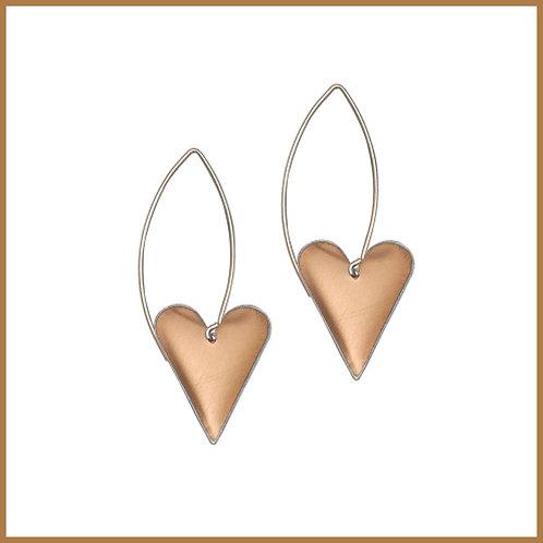 Copper Rose Medium Heart Long Earrings
