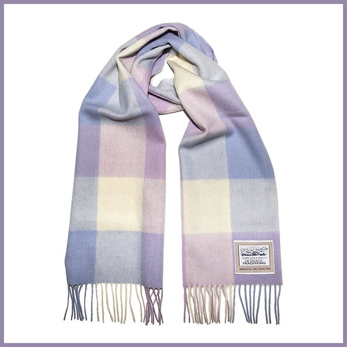 Heritage Pure Wool Scarf Lilac Pink Check