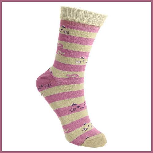 Bamboo Socks Cat & Stripes Size 7-11