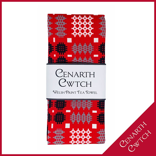 Cenarth Cwtch Welsh Print Tea Towel Radiant Red