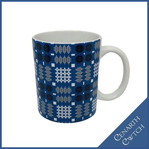 Cenarth Cwtch Welsh Print Mug Cobalt Blue